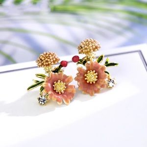 New! Yellow Zinnia Floral Earrings
